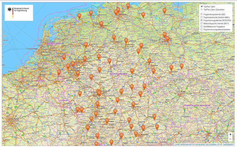 flugplätze in deutschland karte BAF   ANSP Webkarte